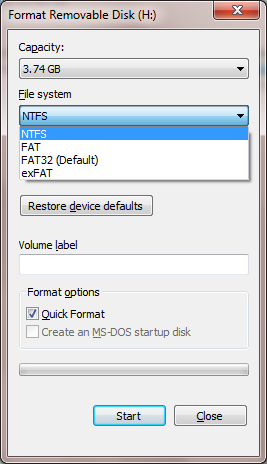 format usb from fat32 to ntsf