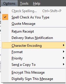 Options Charactor Encoding