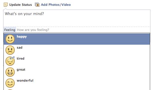 ขั้นตอนการใส่ feeling ในเฟสบุ๊ค เลือก feeling happy