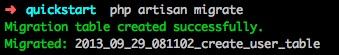 Artisan migrate database