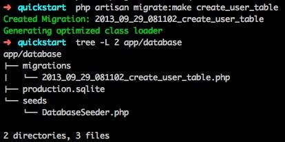Artisan migrate user table