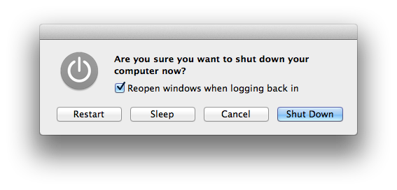 Mavericks - Shutdown dialog