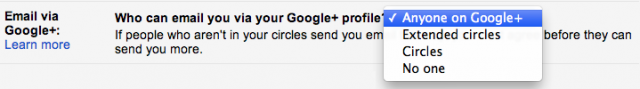 googleplus email settings