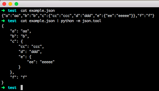 formating json in command line