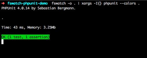 ตัวอย่างเมื่อรันคำสั่ง fswatch